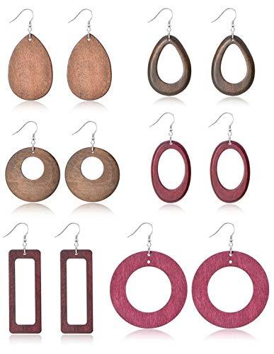 Ofeiyaa 6 Pairs Statement Dangle Natural Wood Teardrop Geometric Earrings Stainless Steel Stud Bohemia Retro Earrings for Women Girls