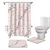YPDWYJL Rosa Blume Pfirsichblüte Duschvorhang 4-teiliges Set rutschfeste Teppich WC-Abdeckung & Bad rutschfeste Matte Bad Vorhang Set