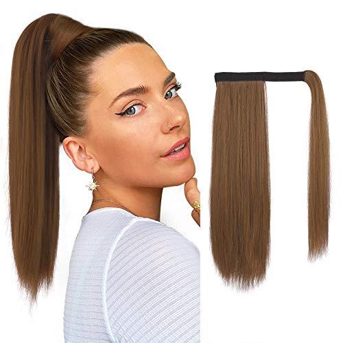 FESHFEN Extension Queue de Cheval Cheveux Naturel, 40 cm Longue Ponytail Cheveux Postiche Synthétique Rajout Cheveux Queue de Cheval Long Wrap Around Ponytail Extension