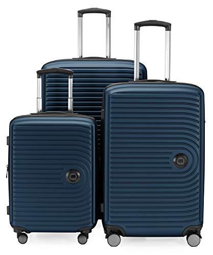 HAUPTSTADTKOFFER - Mitte – 3er Kofferset - Kabinentrolley 55 cm, mittelgroßer Koffer 68 cm + großer Reisekoffer 77 cm, Hartschale ABS, TSA, Dunkelblau