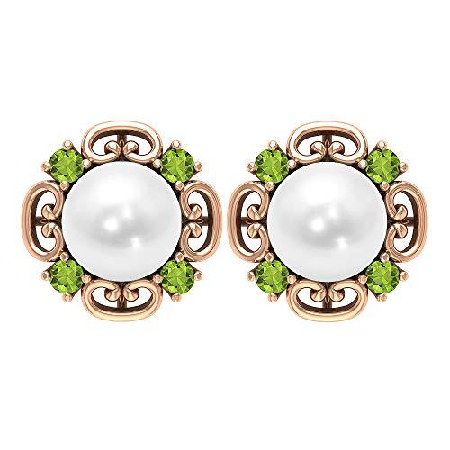 Rosec Jewels 14 quilates oro rosa redonda White Green Perla de agua dulce Peridoto/Olivino
