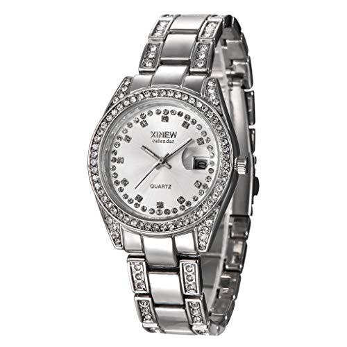 GLEMFOX Vrouwen analoog kwartshorloge Fashion Watch met strass en kalender roestvrij stalen armband Classic Casual Dameshorloge roze goud