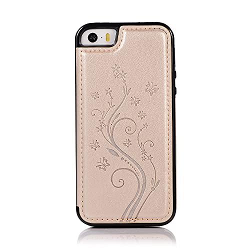 Bolso de un teléfono portátil Funda para iPhone 5 / 5S / SE, caja de cuero de lujo de PU [Dos broche magnético] [ranuras para tarjeta] Función de soporte Función de la mariposa Patrón de flores Durabl