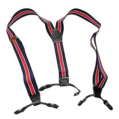 HoldUp American made Navy Blue with Red Striped Dual Clip Double-up Style Suspenders