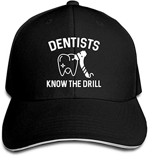 XTTGGD Los Dentistas conocen el Taladro Sombreros para Hombres Mujeres Gorra de béisbol Gorra de Camionero para el Sol Negro WH0338