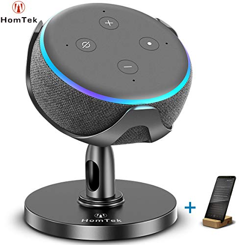 HomTek Echo Dot Stand, Table Holder for Echo dot 3rd Generation, 360° Adjustable,Black