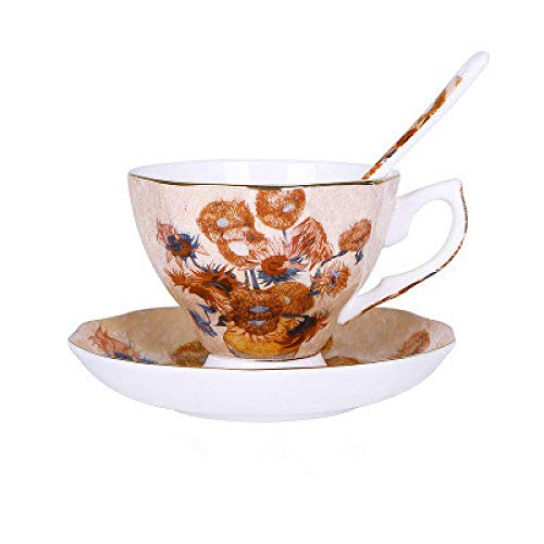 PIVFEDQX Tasse 6 Farbe Becher Hotel 200ml Bone China Kaffeetasse Mit Löffel European Star Cup Keramik Englisch Gold Tee Nachmittagstee Tasse E 200ml