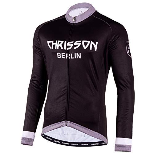 CHRISSON Essential Winter Fahrradtrikot für Herren, Winter Fahrradbekleidung mit Fleece Futter, Radtrikot mit Reißverschluss, Thermo Fahrradjacke für Männer mit 3 großen Rückentaschen L Grau