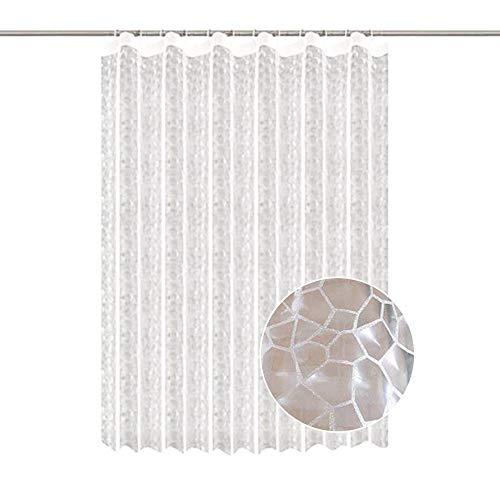 Souarts Duschvorhang Transparent Duschvorhang Anti-Schimmel Anti-Bakteriell Duschvorhang 3D Wasserwürfel Eva wasserdichter Badvorhang Transparent 180x180cm mit 72 Zoll