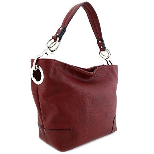 Women's Hobo Shoulder Bag with Big Snap Hook Hardware Burgundy