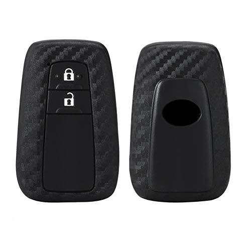 Happyit Autoschlüssel Fall Abdeckung Kohlefaser Muster Weiches Silikon für Toyota CHR C-HR Camry Prius Prado 2 Tasten Keyless Fernbedienung
