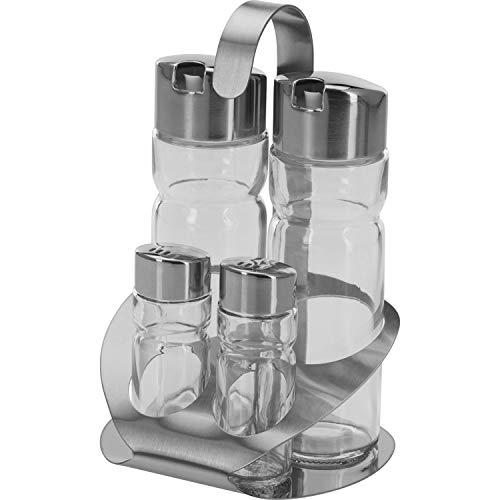 Westmark Menage Salz, Pfeffer, Essig und Öl, 5-tlg., Fassungsvermögen: 2x 40 ml/ 2x 160 ml, Rostfreier Edelstahl/Glas, Wien, Silber/Transparent, 65052260