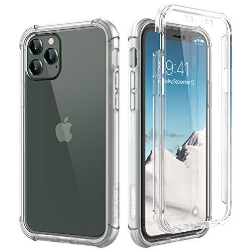 SURITCH Funda iPhone 11 Pro MAX 360 Grados Transparente y Protector Antigolpes [Ultra Hybrid] Transparent PC Dura Resistente + TPU Silicona Bumper, Doble Cara Carcasa para iPhone 11 Pro MAX - Claro