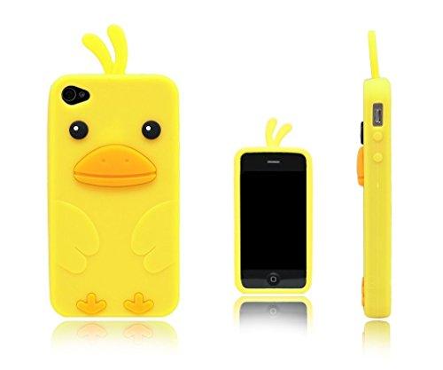 Keyihan iPhone 4 / 4S Funda Carcasa Linda Animal 3D Diseño Polluelo Pato Suave Silicona Protectora Parachoques para Apple iPhone 4 e iPhone 4S (Amarillo)