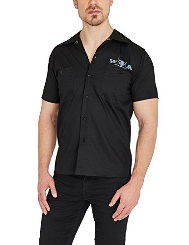 W:O:A – Wacken Open Air Herren Kurzarm Worker Shirt mit Wacken Open Air Logo-Print, großer Rückenprint, Hemd mit Umlegekragen und Knopfleiste, aus Baumwolle, 2XL