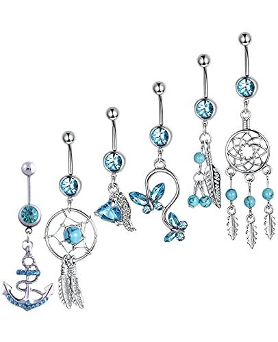 Juego de 6 piercings para el ombligo, color azul, piercing bananabells, atrapasueños,...