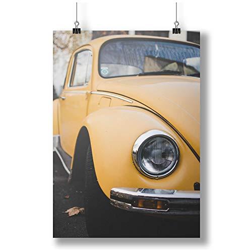 INNOGLEN Detail of A Yellow Vintage Car A0 A1 A2 A3 A4 Satin Foto Poster a3014h