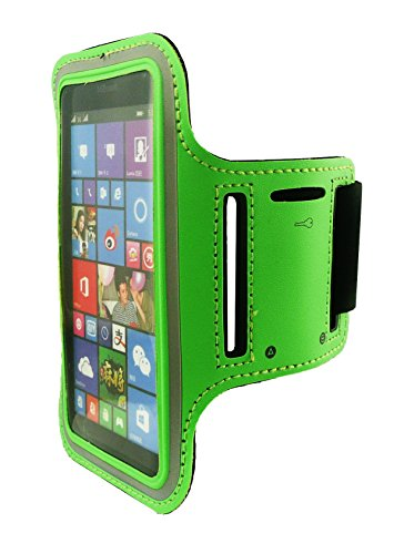 Emartbuy® Grün ShockProof reflektierende Sport Jogging Fitness Armband Velvet Finish (Größe 4) mit Klettverschluss geeignet für Microsoft Lumia 535 / Lumia 535-Dual-Sim