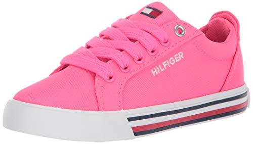 Tommy Hilfiger Unisex-Kid's TH HERRITAGE Bright Sneaker, neon Pink, 4 Child US Little Kid