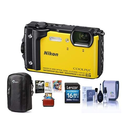 Nikon Coolpix W300 Point & Shoot Camera, Yellow - Bundle with 16GB SDHC Card, Camera Case, Cleaning Kit, Mac Software Package