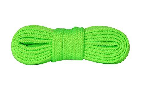 Kaps Lacci per Scarpe da Ginnastica, Stringhe per Scarpe e Calzature Casual, Fatti in Europa, Diversi Colori e Misure (140 cm - 55 inch - da 8 a 10 paia di asole/willow green fluorescent)