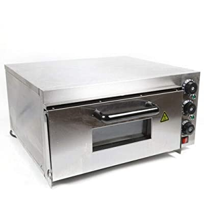 110V 2KW Single Deck Electric Pizza Baking Oven Home Commercial Pizza Cooker Broil Cake Bread Oven Pizza Toaster Stainless Steel Pizza Maker Up to 10-12 Inches Pizza