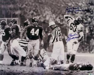 Chuck Bednarik Signed Eagles 16x20 Photo - Sorry Frank, This Fing Game is over