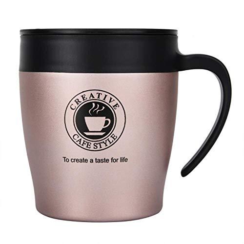 Okuyonic Frasco de vacío de Acero Inoxidable de Doble Pared con Cuchara, Taza de café para té para la Escuela(Rose Gold)