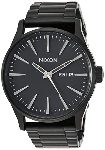 Nixon Sentry SS A356001-00. All Black Men's Watch (42mm Black Watch Case. 23-20mm Black Stainless Steel Band)