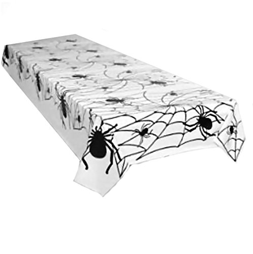 Spider Web Plastic Black and White Tablecloth