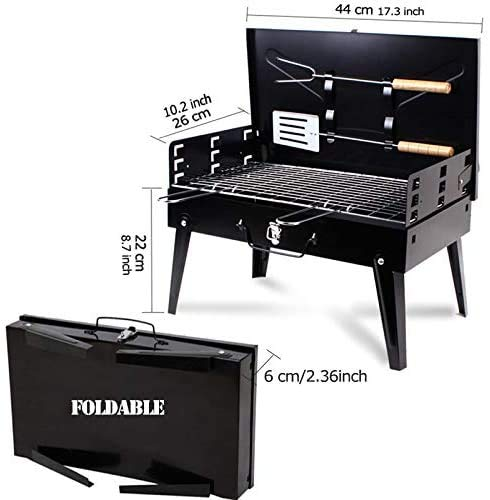 Beini Folding BBQ Charcoal Grill Stainless Steel,Portable Lightweight Charcoal BBQ Barbecue Tool Kits for Outdoor Cooking Camping Hiking Grilling Picnics Small Patio Smokers,Black
