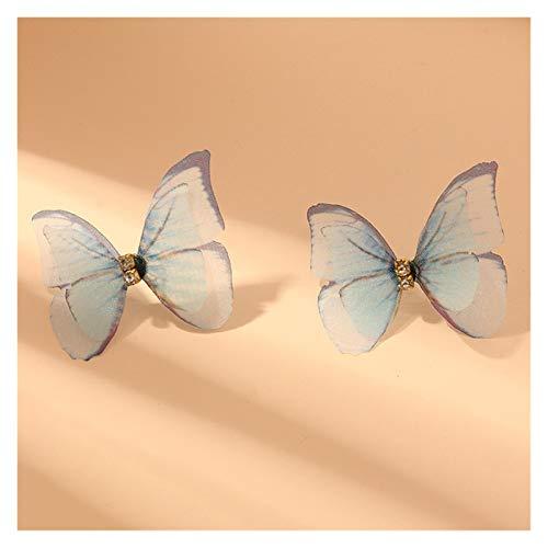 WanXingY Hermoso Doble Mariposa Pendientes joyería Femenina Europea Verano niña Multicolor Grande círculo gardo aro Pendientes (Color : NZ2941lanse)