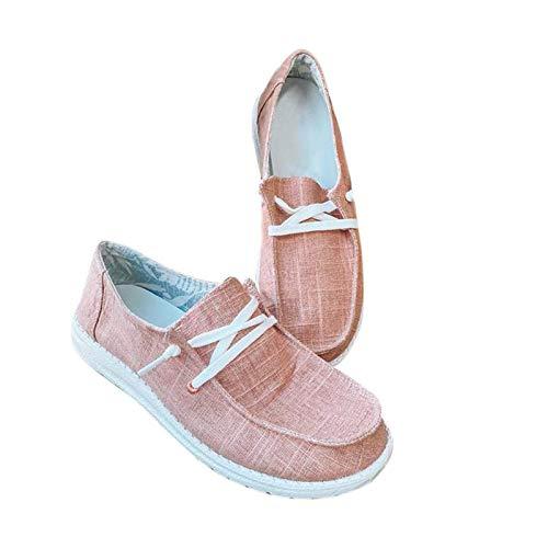 UMore Mujer Mocasines de Lona Moda Loafers Casual Zapatos de Conducción Cómodos Zapatillas del Barco