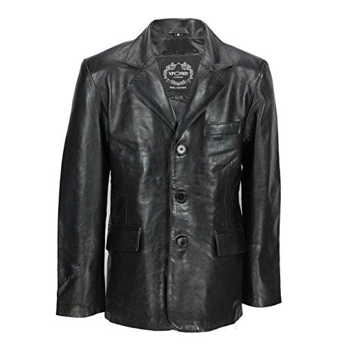 LLD Original - Giacca da uomo vintage di media lunghezza in vera pelle di pecora, colore nero e marrone chiaro Nero XXXXXXL