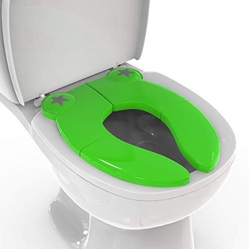 Mighty Clean Baby Folding Travel Potty Seat - Non-Slip, Portable Toilet Training Seat for Toddlers and Kids with a Reusable Travel Pouch