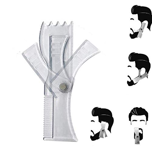 LCJDD Plantilla de herramienta de modelado de barba, Herramienta de modelado de peine de barba giratoria, Herramienta de modelado de plantilla para hombres Modelado de barba (6.9x2.2in) (2Pcs)
