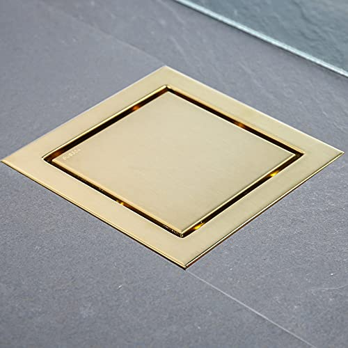 RANDOM 6-inch SUS304 Stainless Steel Square Shower Floor Drain with Tile Insert Grate Removable Multipurpose Invisible Look or Flat Cover,Brushed Stainless. (Brushed Gold)