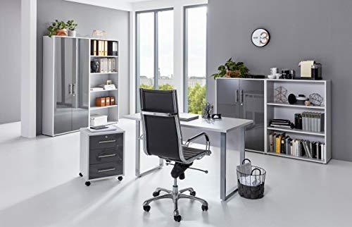 BMG-Moebel.de Büromöbel komplett Set Arbeitszimmer Office Edition Mini in Lichtgrau/Anthrazit Hochglanz (Set 1)