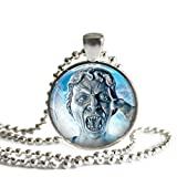 Doctor Who Weeping Angel 1 Inch Silver Plated Pendant Necklace or Keychain