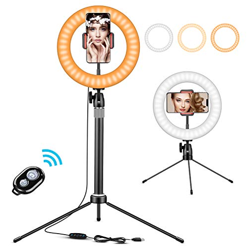 """10"""" Ring Light with Tripod Stand, Desktop Ring Light with Adjustable Height Level, 3 Light Colors, 6 Levels Brightness(3200K-6500K), Remote Control, Flexible Phone Holder for Live Stream/Makeup"""