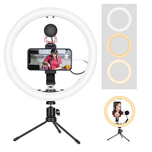 12' LED Ring Light with Microphone Vlog Video kit Desktop Mini Tripod for Smartphones...
