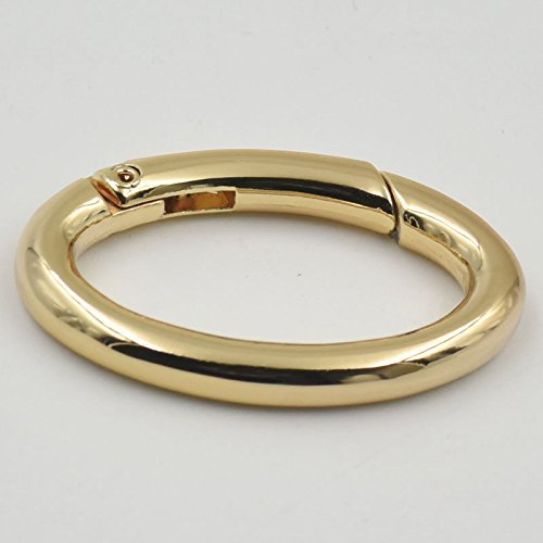 4 PCS Metal Snap Clip 36mm Trigger Spring Gate Oval Ring Clips for Strap Robbin Webbing Buckle Ring (Light-Gold)
