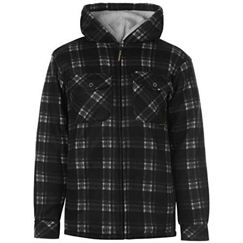 Dunlop – cappotto da uomo con zip a quadri con cappuccio, abbigliamento Black XXL