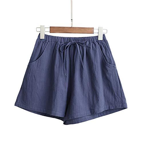 YFDYG Short Femme,Navy Blue Solid Color Shorts Ladies Summer Cotton Linen Shorts Girl Wide Leg Casual Trousers Plus Size Loose Elastic Waist Pockets Pants,M