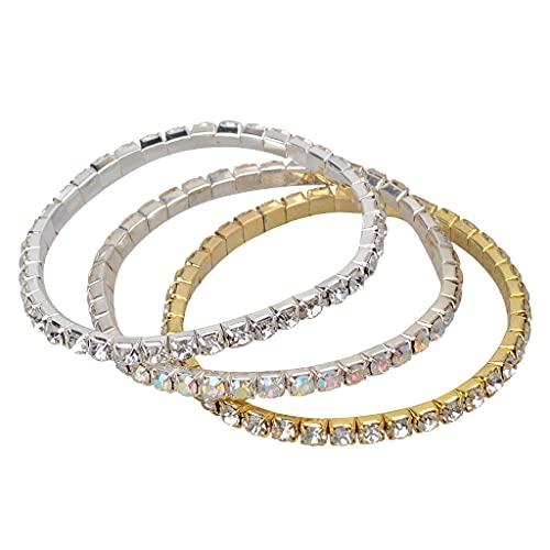 SDENSHI Braccialetti Elastici Bracciale 3 Pezzi Bracciale Elastico con Ciondoli Colorati in Argento Dorato, per Una Dolce semplicità di Regalo