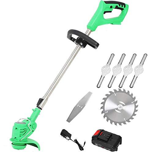 DEALRITE 12 V Edger & String Trimmer Cortacéspedes inalámbrico Weed Brush Cutter Kit de corte de poda herramientas de jardín con hoja de repuesto con batería, 24 V 1 batería