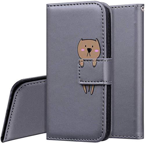 QPOLLY Kompatibel mit Samsung Galaxy S10 Hülle Klappbar Ledertasche,Cartoon Tiere Muster PU Leder Handytasche Ständer Brieftasche Handyhülle für Galaxy S10 mit Kartenhalter,Grau