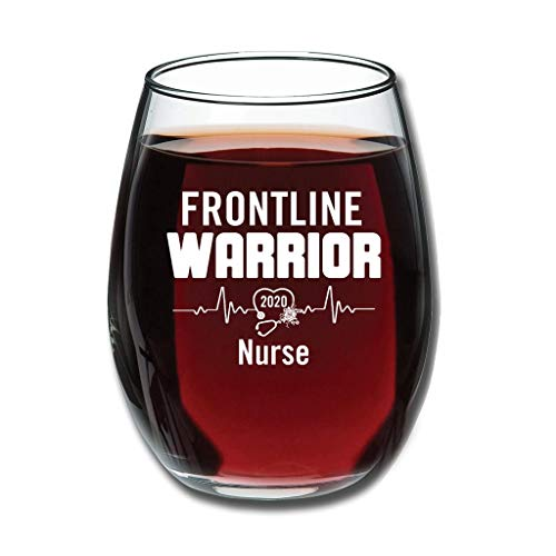 Bohohobo Libbey Weinglas ohne Stiel 2020 Frontline Warrior Nurse 340 ml Weinglas für Rot- und Weißweine spülmaschinenfest, herzwärmendes Geschenk für lustige Weißweine 350 ml