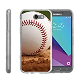 TurtleArmor | Compatible with Samsung Galaxy J3 Emerge Case | J3 (2017) [Flexible Armor] Slim Fit Flexible TPU Case Soft Bumper Cover Sports and Games - Baseball Dirt
