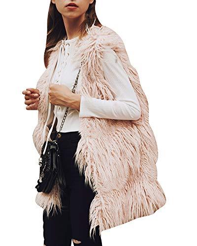 ZhuiKunA Damen Elegant Lange Faux Pelz Kunstfell Weste Pelzjacke Cardigan Winterjacke Pink XL